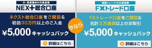 外為どっとコム NEXT総合口座 ネクスト総合口座 FXトレード口座 5000円 五千円 口座開設キャンペーン