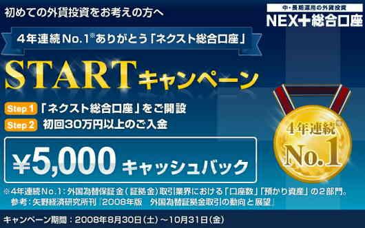 外為どっとコム、現金5,000円がもらえる「NEXT総合口座スタートキャンペーン」