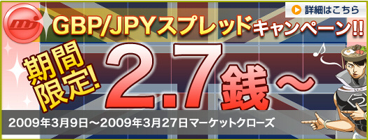 MJ Spotboard GBP/JPY ポンド円 スプレッド2.7銭~ キャンペーン