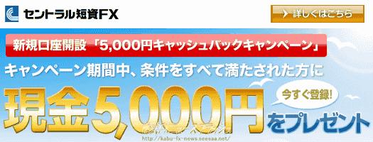セントラル短資FX キャッシュバック キャンペーン