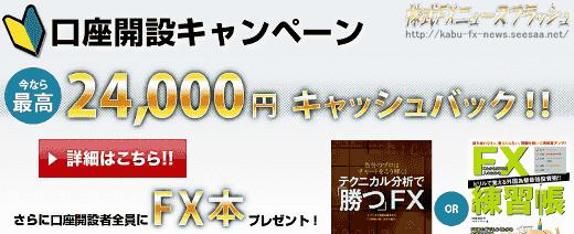 FXプライム キャンペーン キャッシュバック 24000円