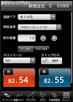 外為どっとコム iPhone アイフォン Android アンドロイド スマートフォン 発注画面 注文画面