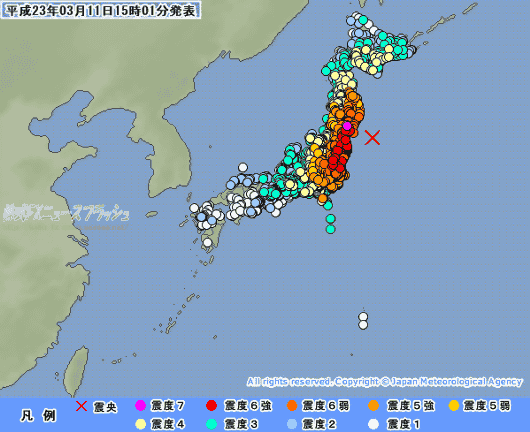 東日本大震災 震度一覧表 震度分布図 全国 地図