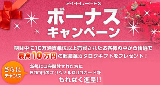 アイ・トレードFX ボーナスキャンペーン